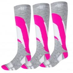 4F Skisokker Dame, 3 Par, Pink