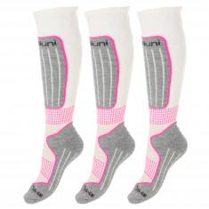 Deluni ski socks, 3 pairs, white/lilac