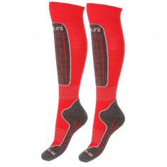 Deluni junior ski socks, 2 pairs, red