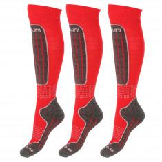 Deluni skistrømper, 3 par, rød