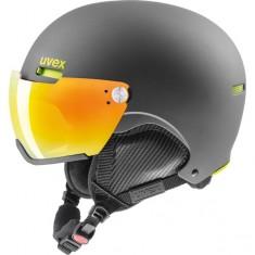 Uvex hlmt 500 helmet with visor, black/lime