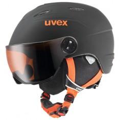 Uvex Junior pro Skihjelm med Visir, Black-Orange Mat