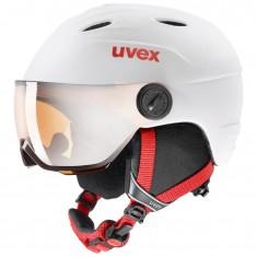 Uvex Junior pro Skihjelm med Visir, White-Red Mat
