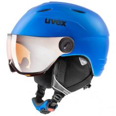Uvex Junior Visir Pro, Skihjelm med visir, Mat Blue